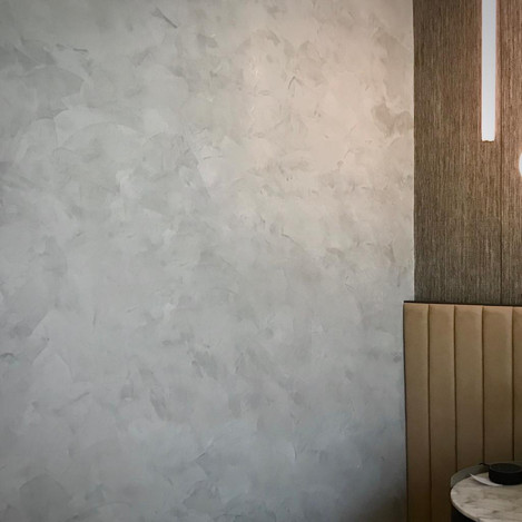 Semi-gloss grey venetian plaster finish