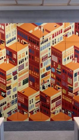 AXA geomatric office mural by Alex Croft