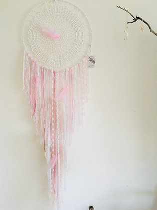 Pale Pink/White With Feathers approx 1 metre long 50 cm hoop
