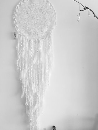 Pure White & Feathers Dreamcatcher approx 1 meter long 50cm hoop