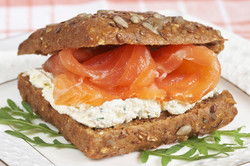 Smoked Salmon Sandwich with cream cheese