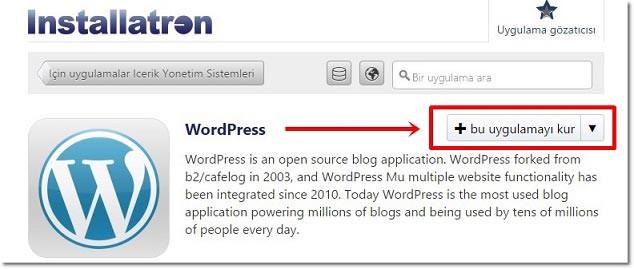 Bu Uygulamayı Kur - WordPress Kurulumu