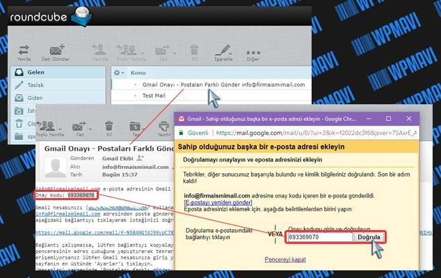 Şirket Mailini Gmailde Açma - Onay Kodu