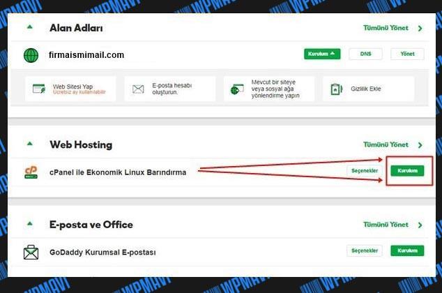 Şirket Maili Açma - Hosting Yönetimi