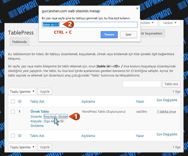 WordPress Tablo Eklentisi - Kısa Kod Alma