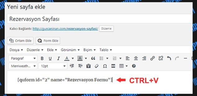 WordPress Form Hazırlama - Kısa Kod Ekleme