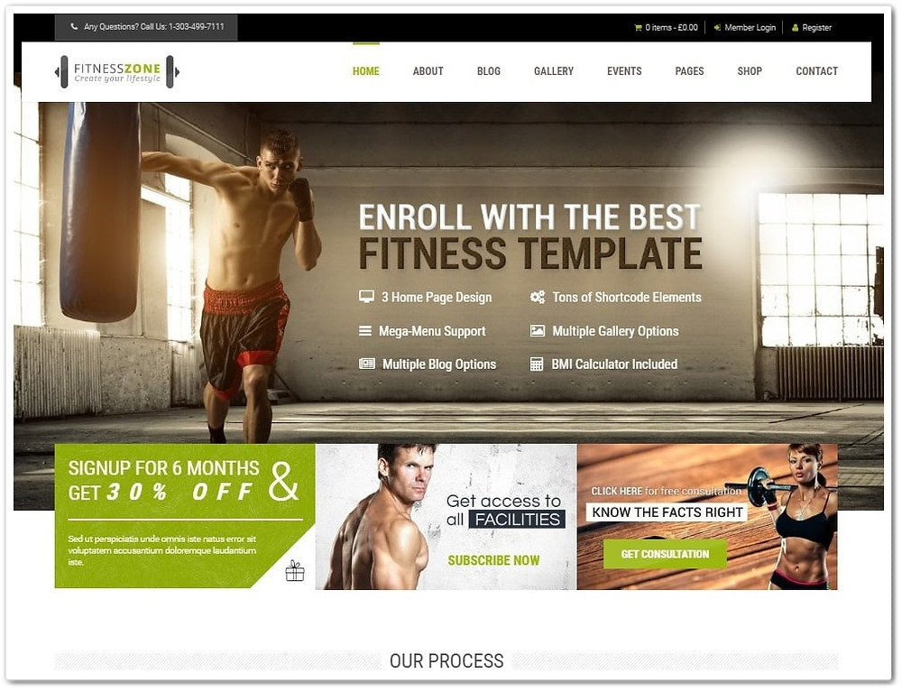 wordpress fitness teması - wordpress gym teması - wordpress spor salonu teması
