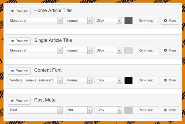 Mytemeshop Temaları için - WordPress Yazı Tipi Değiştirme