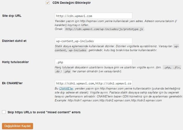 WP Super Cache CDN entegrasyonu