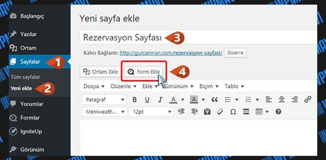 WordPress Form Hazırlama - Form Ekleme Butonu