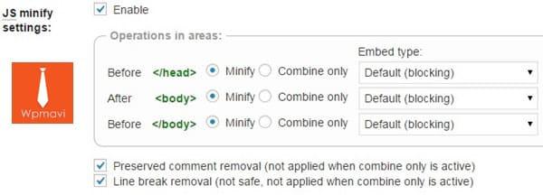 W3 Total Cache Minify Ayarları - js minify ayarları