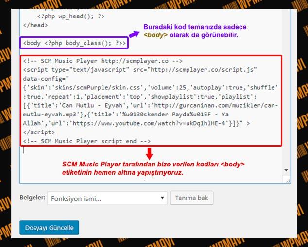 WordPress Arka Plana Müzik Ekleme - Kodları Ekleme / 2