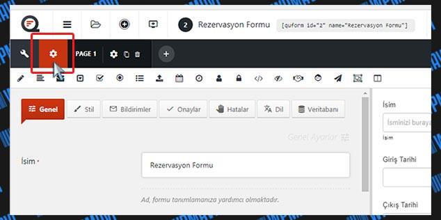 WordPress Form Hazırlama - Form Ayarları