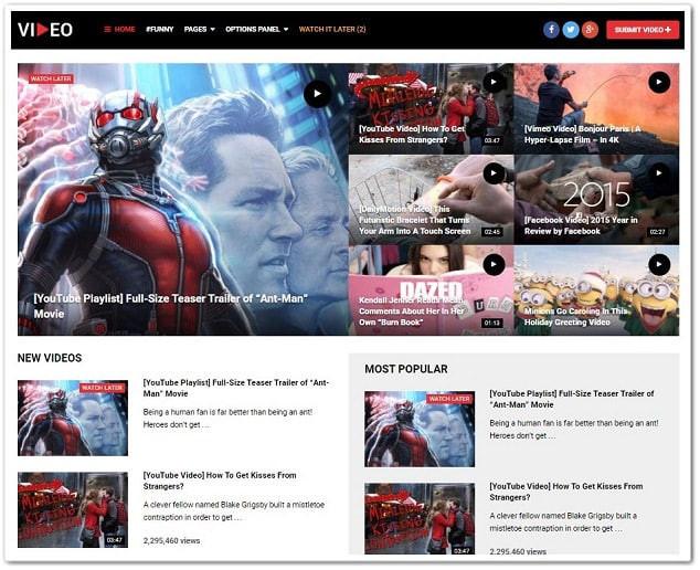 Wordpress video teması - video