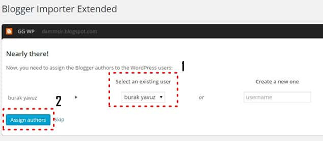Blogger importer extented yazar ataması Blogger WordPress'e geçiş