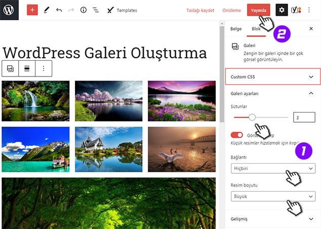 WordPress Galeri Oluşturma Adım 3