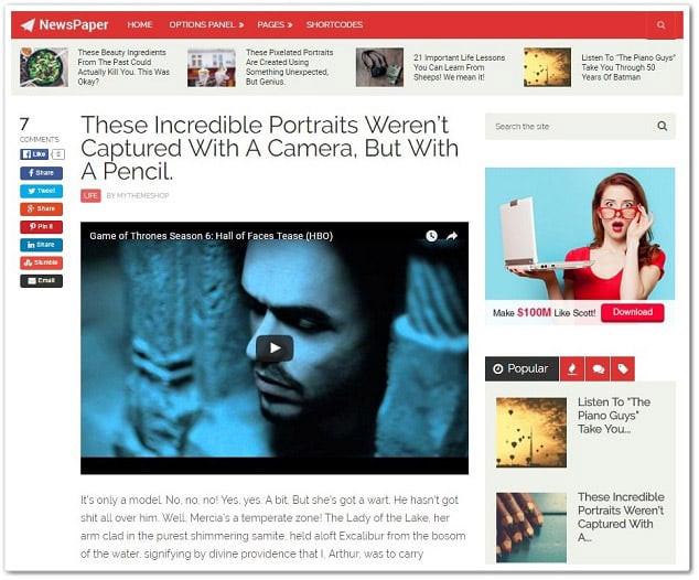 Wordpress video teması - Newspaper video teması