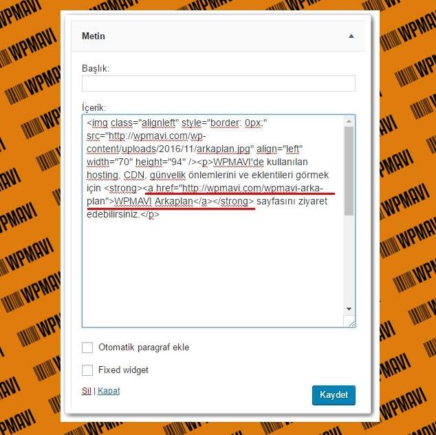 Wordpress Siteye Link Ekleme Yan Panelde Link Verme