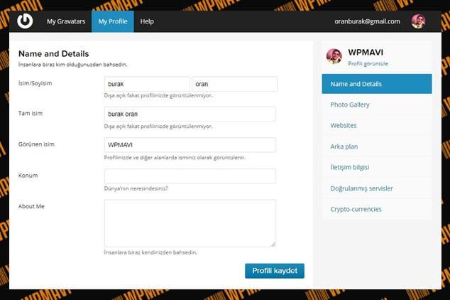 Wordpress Admin Resmi Yüklemek - Gravatar