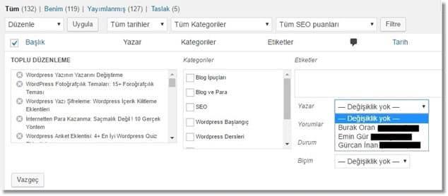 Wordpress Yazıların Yazarını Toplu Şekilde Değiştirme - Yazar Seçme