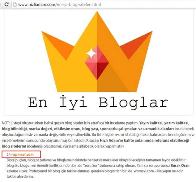 Backlink alma yöntemleri - En iyi bloglar lsitesinden backlink almak