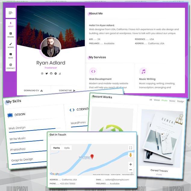 RyanCV WordPress Portföy Teması