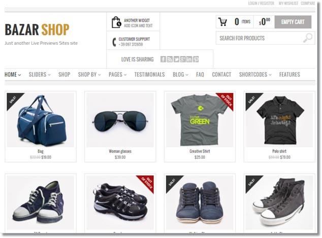 Wordpress E-Ticaret Temaları - Bazar Shop