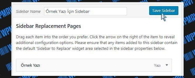 Farklı Sidebar Oluşturma - Sidebar Kayıt