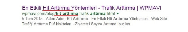 URL adresinde anahtar kelime kullanma - google kriterleri
