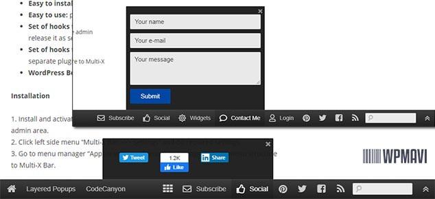 Multi-X-Bar Sosyal Medya Eklentisi Araçları