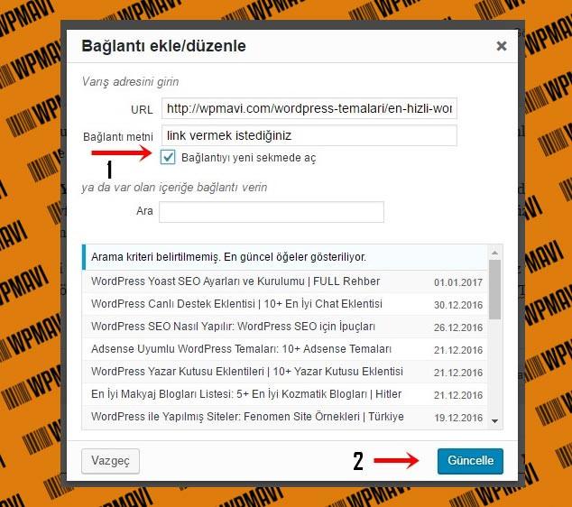 Wordpress Link Verme - Bağlantı Seçenekleri