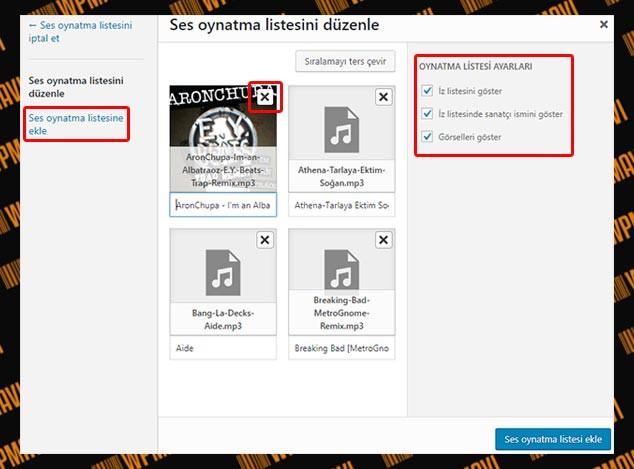 WordPress Müzik Listesi Ekleme - Liste Düzenleme