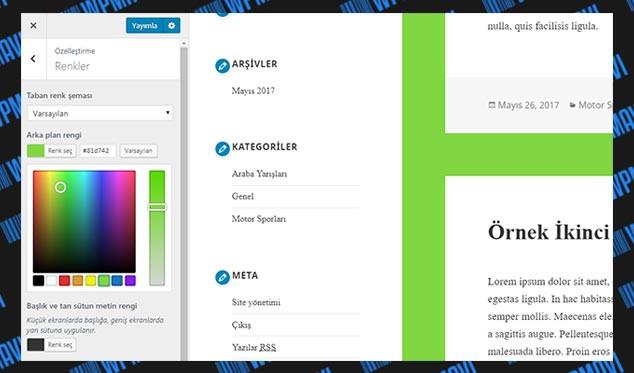 WordPress Arka Plan Rengi Değiştirme