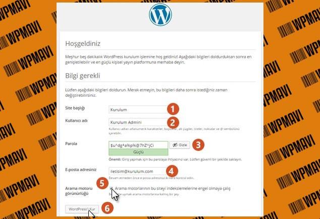 Wordpress Kurulumu Adım - 4