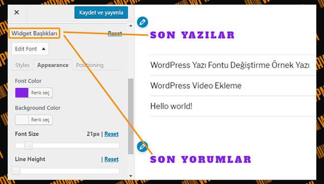 WordPress Yazı Tipi Değiştirme - Bileşen Başlıkları