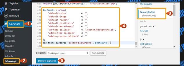 WordPress Arka Plan Değiştirme - functions.php Kodları
