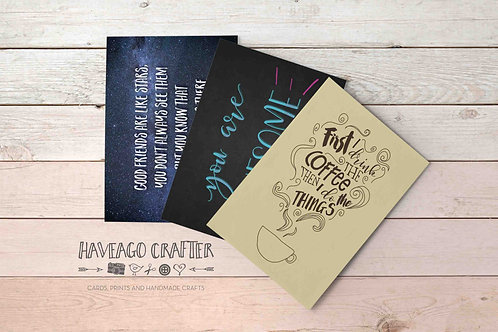 Fun and inspirational quote postcards / notecards - series 7.