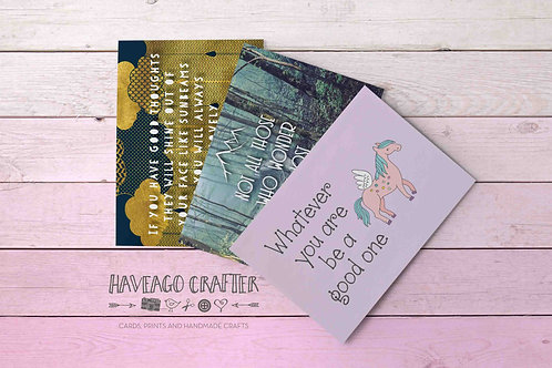 Fun and inspirational quote postcards / notecards - series 6.