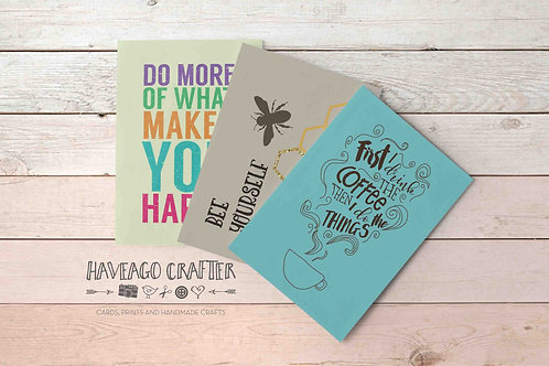 Fun and inspirational quote postcards / notecards - series 5.