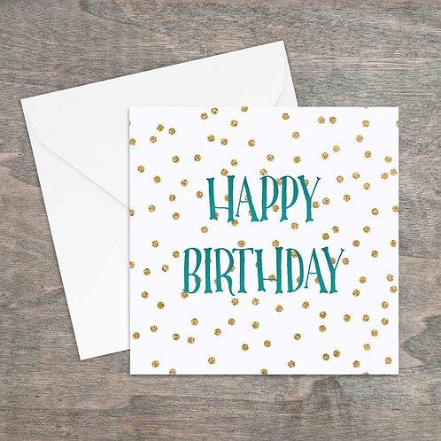 Happy Birthday gold glitter spot greetings card