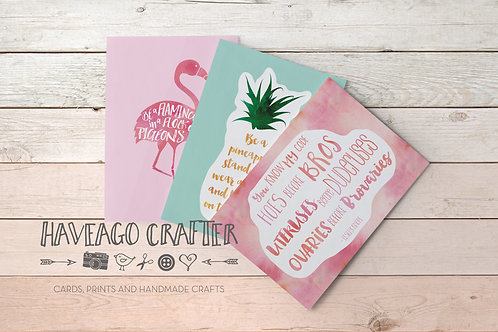 Fun and inspirational quote postcards / notecards - series 1.