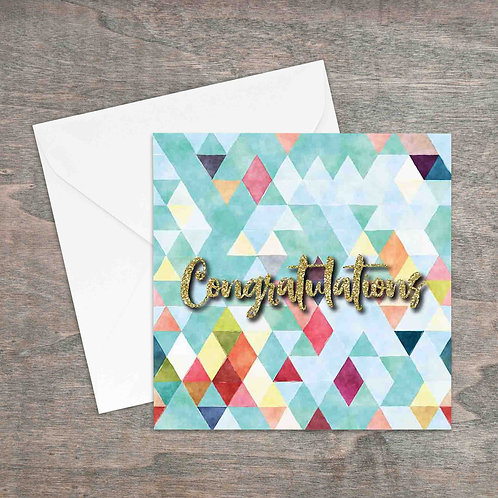 Congratulations geometric and gold glitter greetings card