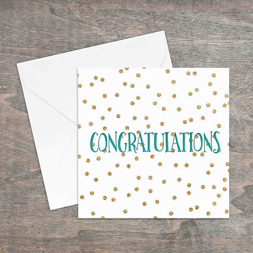Congratulations gold glitter spot greetings card