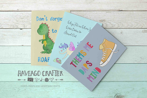 Fun and inspirational quote postcards / notecards - series 4.