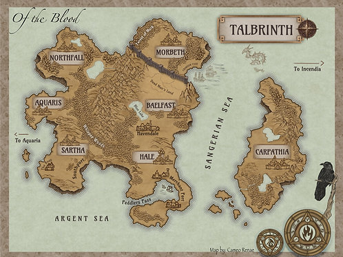 """11"""" x 14"""" Map of Talbrinth - w/ white backing board and acid-free bag."""