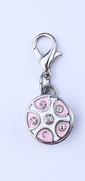 Zipper Charm - Pink/White Resin - Clear Crystal