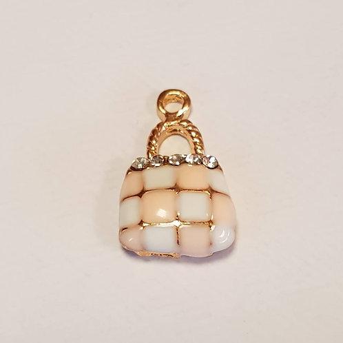 Zipper charms - handbag charm -Pink/Gold - Black/Gold with Diamonties