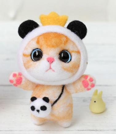 DIY Mini Wool Felt Animals - Panda Cat