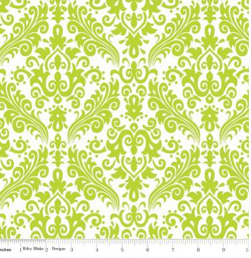 Hollywood Sparkle Damask - Lime on White - By Riley Blake Designs