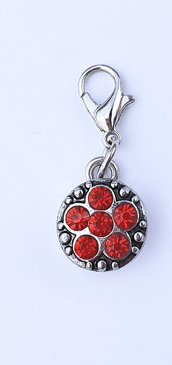 12mm Zipper charms - Red Flower